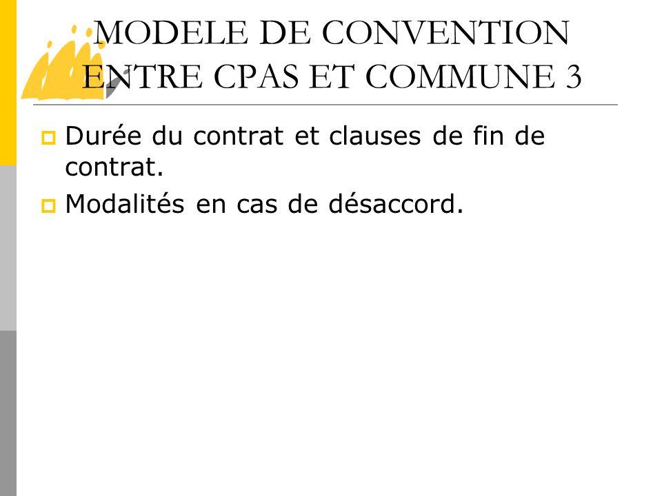 MODELE DE CONVENTION ENTRE CPAS ET COMMUNE 3 Durée du contrat et clauses de fin de contrat. Modalités en cas de désaccord.