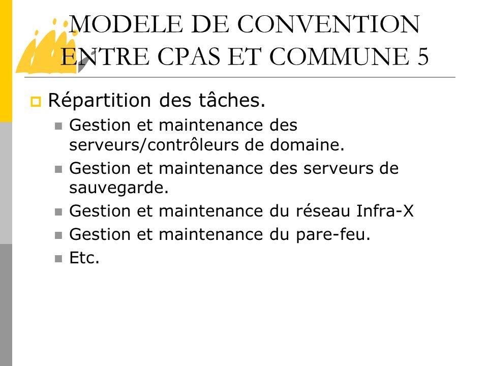 MODELE DE CONVENTION ENTRE CPAS ET COMMUNE 5 Répartition des tâches. Gestion et maintenance des serveurs/contrôleurs de domaine. Gestion et maintenanc