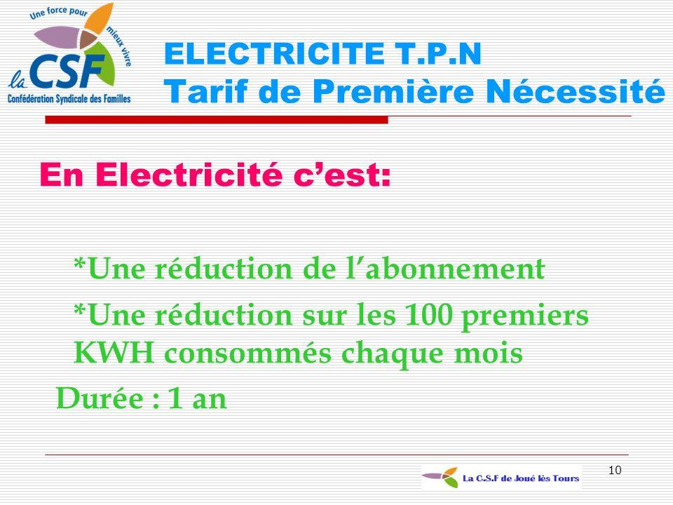 10 En Electricité cest: *Une réduction de labonnement *Une réduction sur les 100 premiers KWH consommés chaque mois Durée : 1 an ELECTRICITE T.P.N Tar
