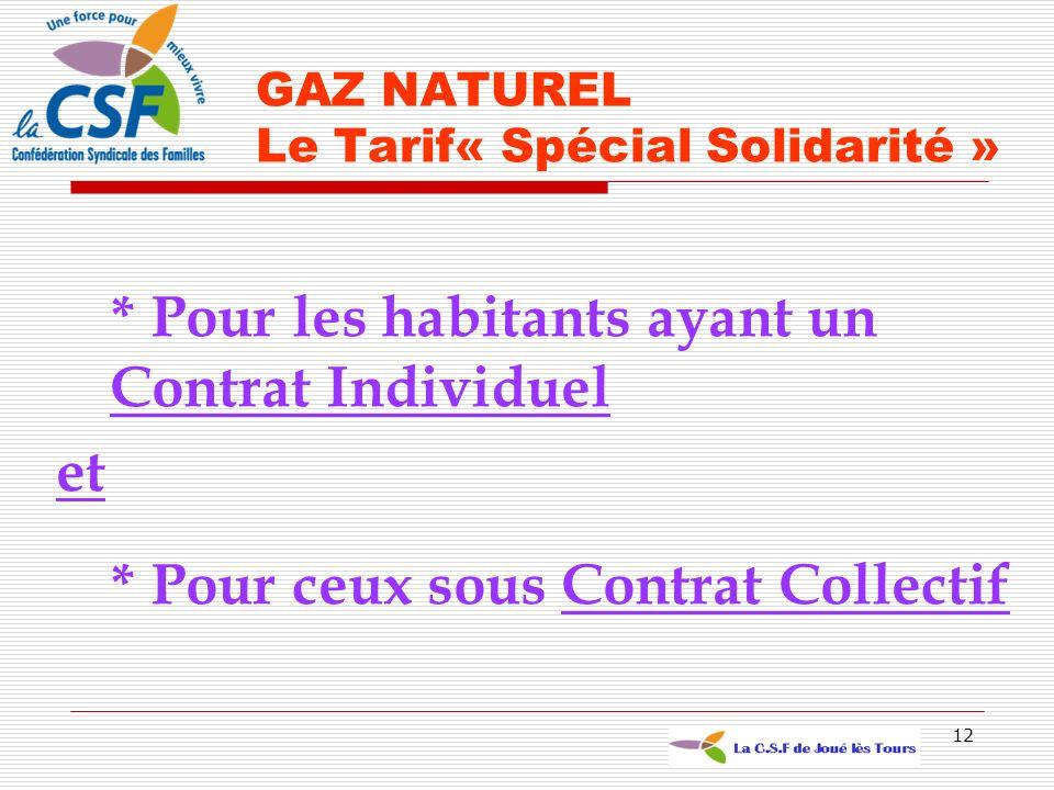 12 * Pour les habitants ayant un Contrat Individuel et * Pour ceux sous Contrat Collectif GAZ NATUREL Le Tarif« Spécial Solidarité »