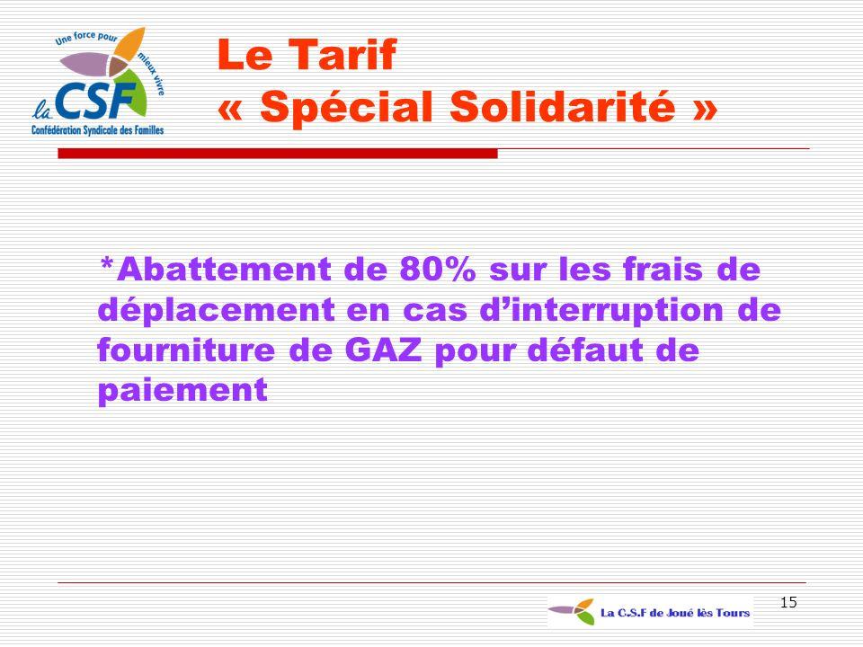 15 *Abattement de 80% sur les frais de déplacement en cas dinterruption de fourniture de GAZ pour défaut de paiement Le Tarif « Spécial Solidarité »