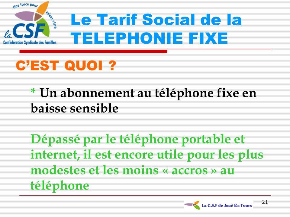 21 CEST QUOI ? * Un abonnement au téléphone fixe en baisse sensible Dépassé par le téléphone portable et internet, il est encore utile pour les plus m