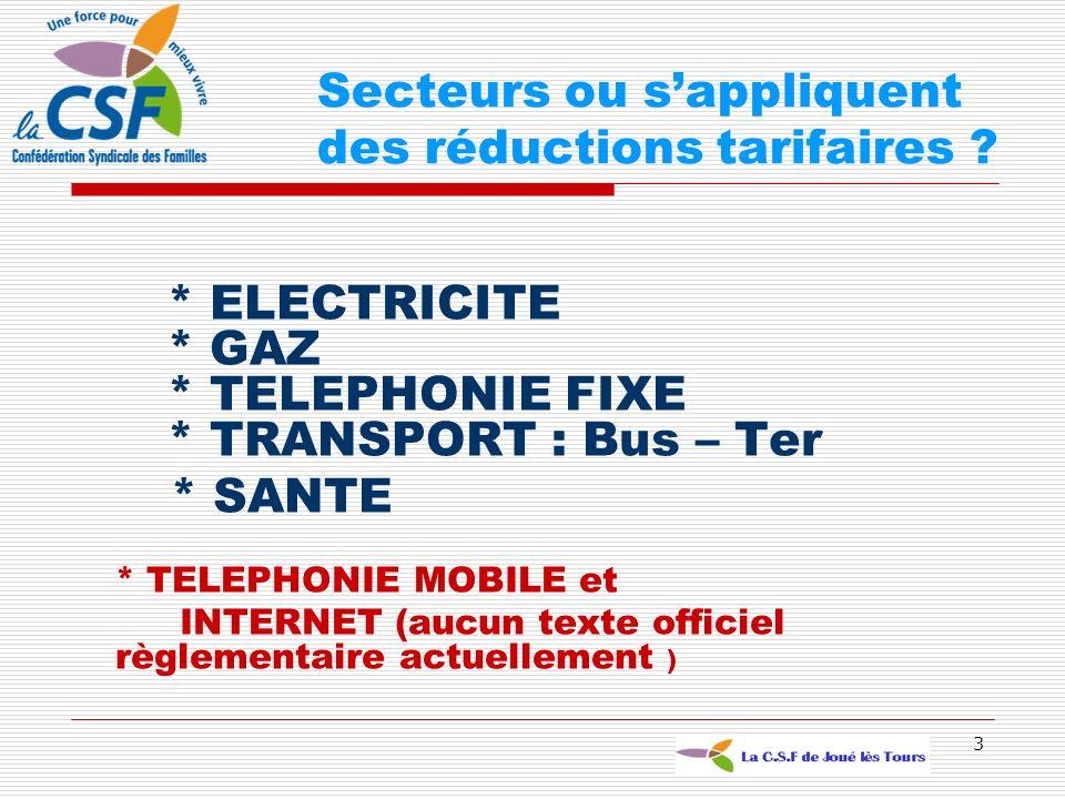 3 * ELECTRICITE * GAZ * TELEPHONIE FIXE * TRANSPORT : Bus – Ter * SANTE * TELEPHONIE MOBILE et INTERNET (aucun texte officiel règlementaire actuelleme