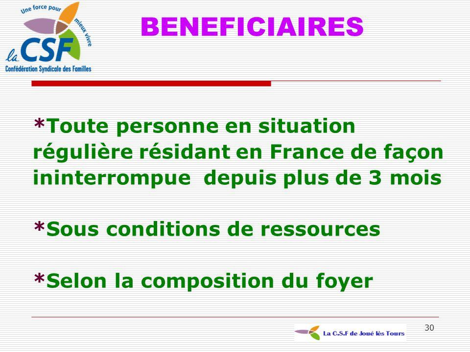 30 BENEFICIAIRES *Toute personne en situation régulière résidant en France de façon ininterrompue depuis plus de 3 mois *Sous conditions de ressources