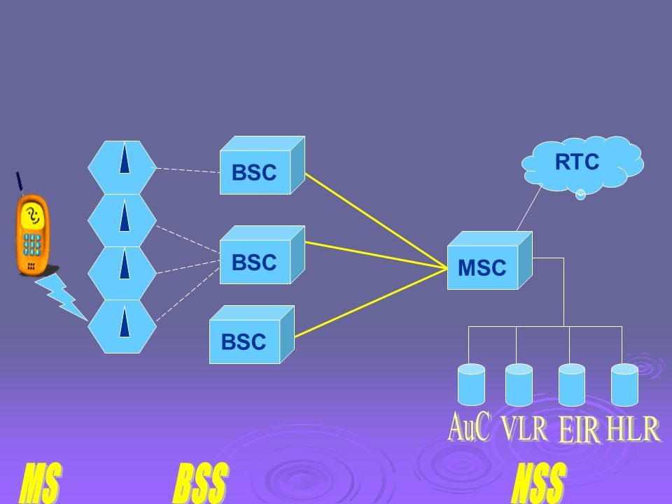 Le NSS (Network Sybsystem) comprend des bases de données et des commutateurs : les MSC (Mobile Switching Center). HLR (Home Location Register). VLR (V