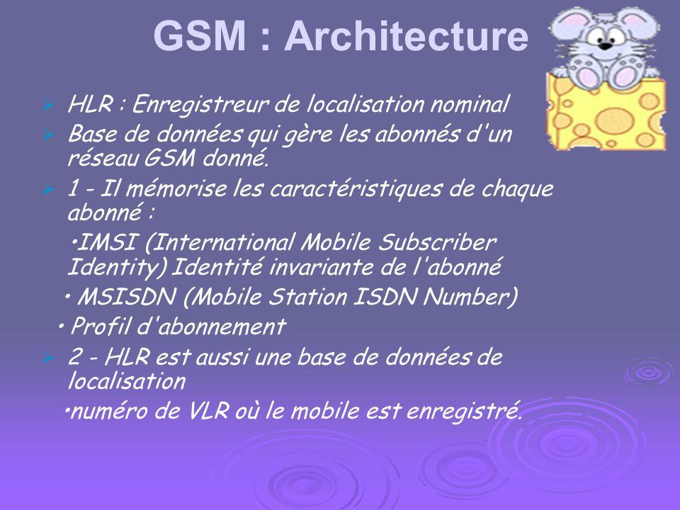 GSM : Architecture MSC Gère l'établissement des communications entre un mobile et un autre MSC. Il interconnecte un réseau GSM avec le réseau téléphon