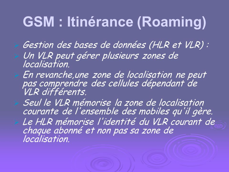GSM : Identités poste appelant GMSC HLR VMSC/VLR MS MSISDN IMSI MSRN TMSI ou IMSI