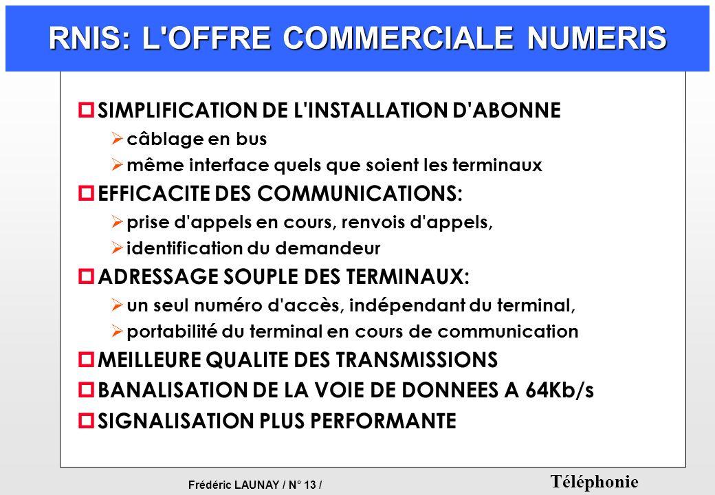 Frédéric LAUNAY / N° 13 / Téléphonie RNIS: L'OFFRE COMMERCIALE NUMERIS p SIMPLIFICATION DE L'INSTALLATION D'ABONNE câblage en bus même interface quels