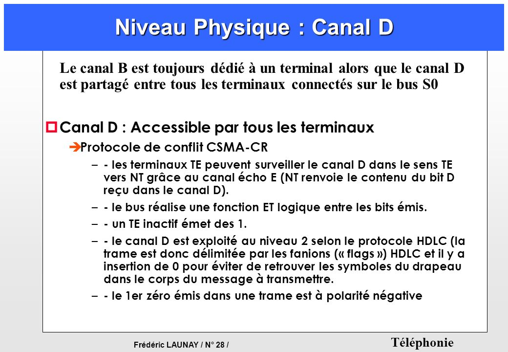 Frédéric LAUNAY / N° 28 / Téléphonie Niveau Physique : Canal D Le canal B est toujours dédié à un terminal alors que le canal D est partagé entre tous