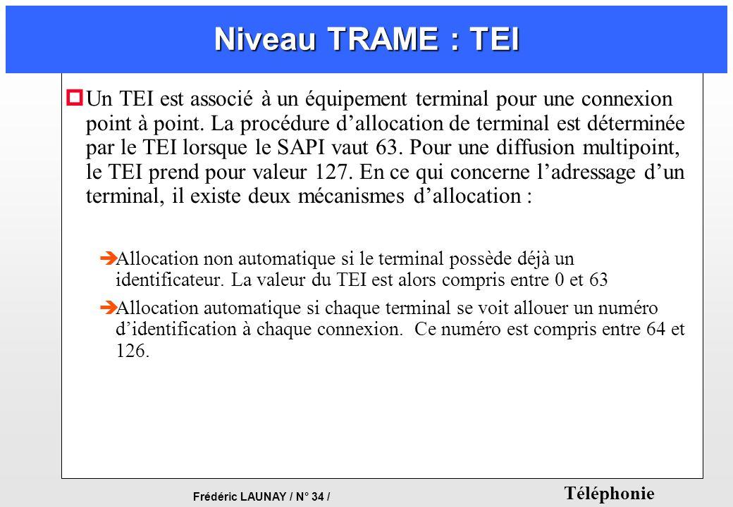 Frédéric LAUNAY / N° 34 / Téléphonie Niveau TRAME : TEI pUn TEI est associé à un équipement terminal pour une connexion point à point. La procédure da
