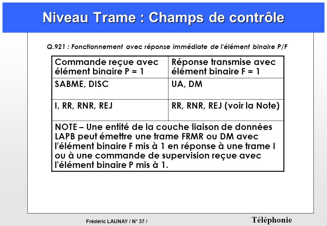 Frédéric LAUNAY / N° 37 / Téléphonie Niveau Trame : Champs de contrôle Commande reçue avec élément binaire P = 1 Réponse transmise avec élément binair