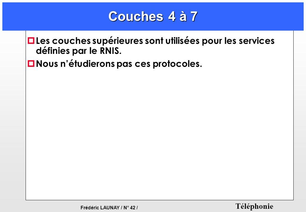 Frédéric LAUNAY / N° 42 / Téléphonie Couches 4 à 7 p Les couches supérieures sont utilisées pour les services définies par le RNIS. p Nous nétudierons