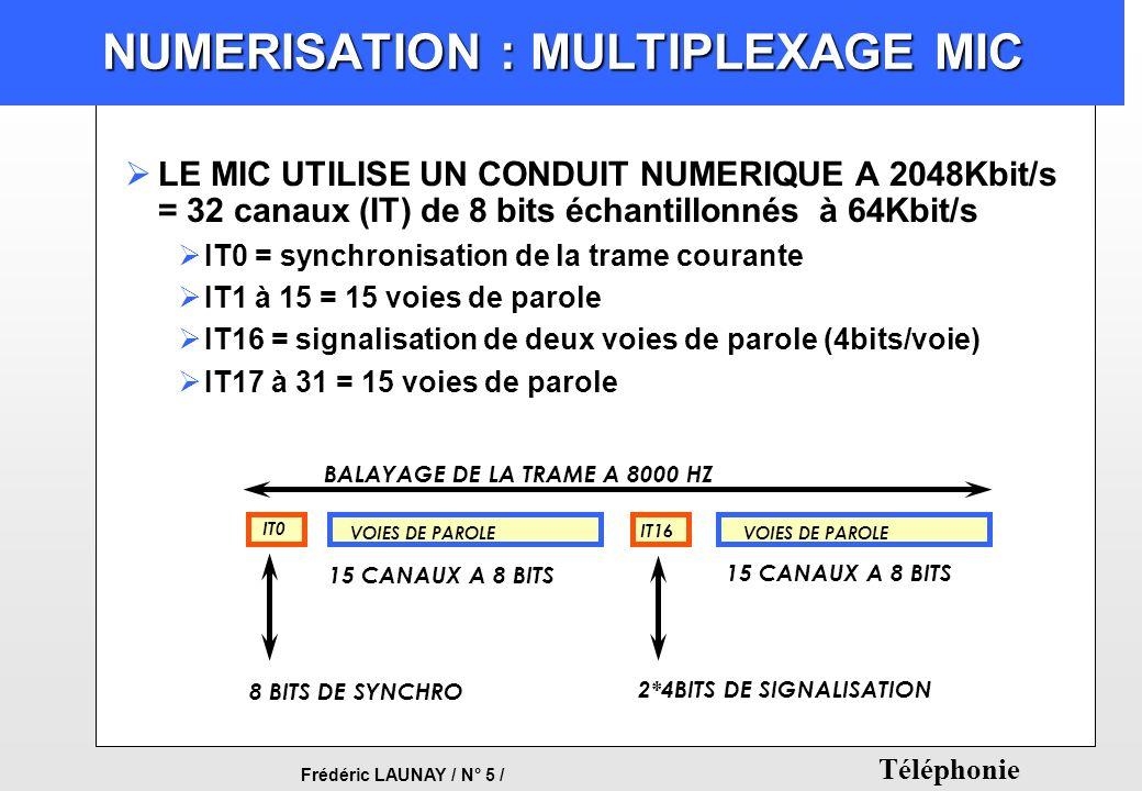 Frédéric LAUNAY / N° 5 / Téléphonie NUMERISATION : MULTIPLEXAGE MIC LE MIC UTILISE UN CONDUIT NUMERIQUE A 2048Kbit/s = 32 canaux (IT) de 8 bits échant