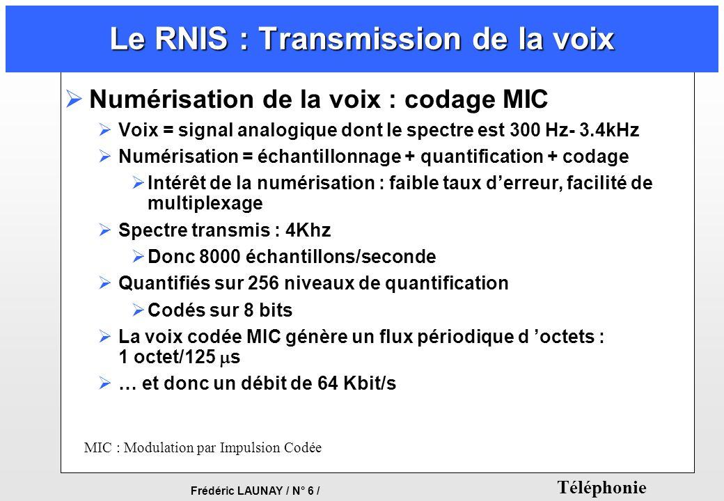 Frédéric LAUNAY / N° 6 / Téléphonie Le RNIS : Transmission de la voix Numérisation de la voix : codage MIC Voix = signal analogique dont le spectre es