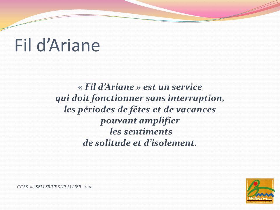 Fil dAriane « Fil dAriane » est un service qui doit fonctionner sans interruption, les périodes de fêtes et de vacances pouvant amplifier les sentimen
