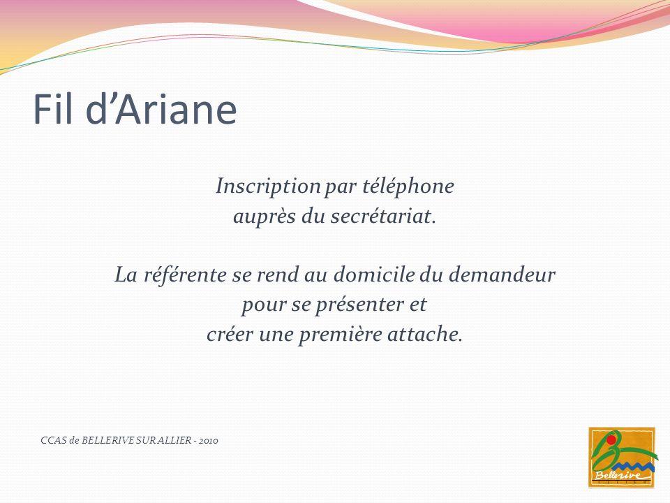 Fil dAriane Marie Axelle BEZARD ou Chantal AMIOT téléphonent au bénéficiaire : un appel téléphonique convivial pour rompre lisolement, partager les évènements importants de la vie du bénéficiaire, et évoquer lactualité de la cité.