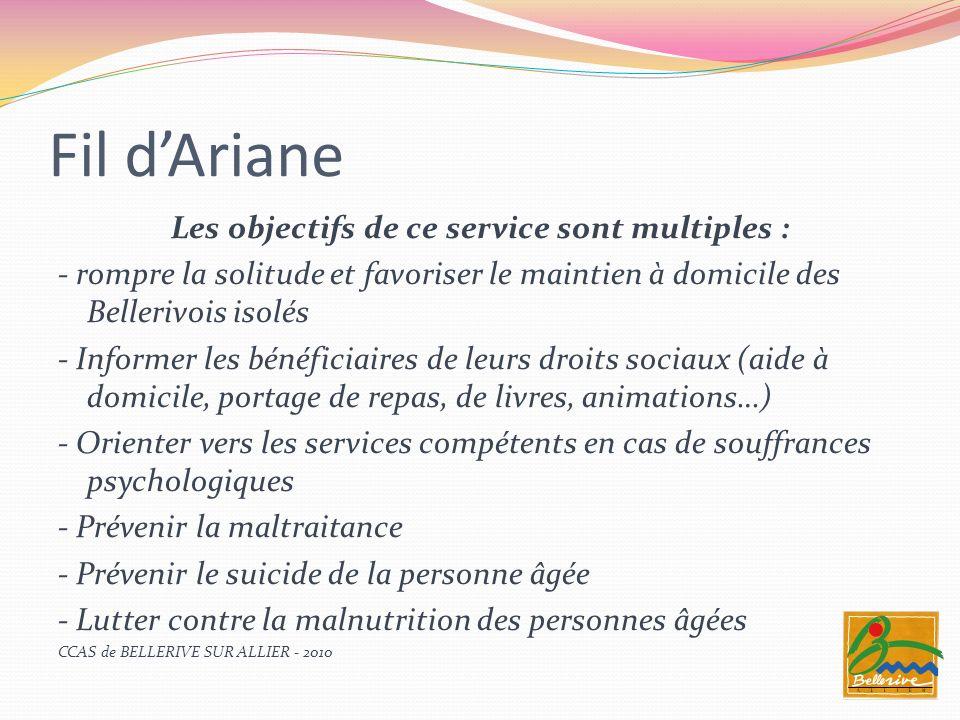 Fil dAriane Les objectifs de ce service sont multiples : - rompre la solitude et favoriser le maintien à domicile des Bellerivois isolés - Informer le