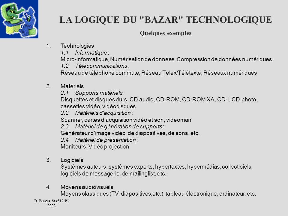 D. Peraya, Staf 17/P5 2002 LA LOGIQUE DU