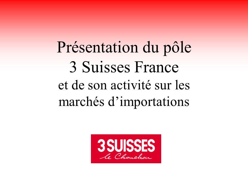 31/01/2003 Le groupe 3 Suisses International 3 SUISSES France fait partie du groupe 3 SUISSES INTERNATIONAL Groupe de vente à distance spécialisé dans la vente de produits et de services, aux consommateurs