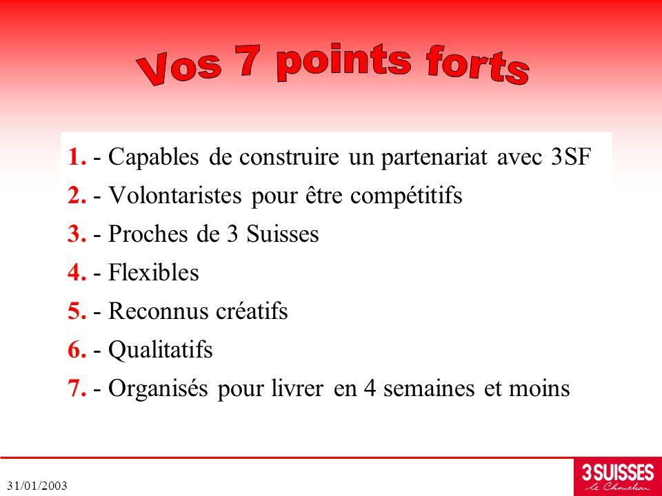 31/01/2003 1. - Capables de construire un partenariat avec 3SF 2. - Volontaristes pour être compétitifs 3. - Proches de 3 Suisses 4. - Flexibles 5. -