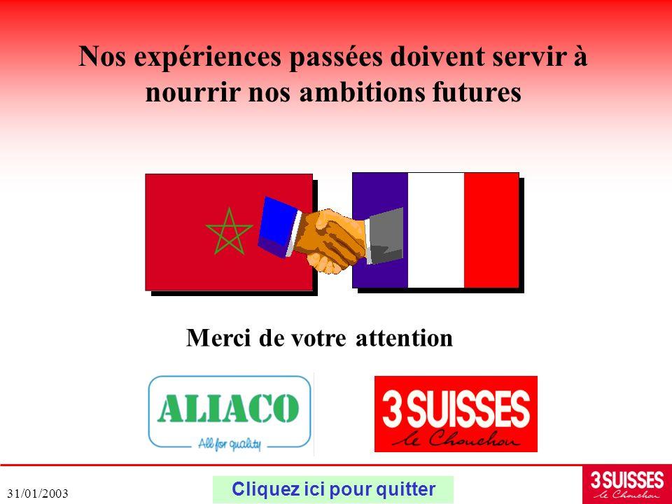 31/01/2003 Nos expériences passées doivent servir à nourrir nos ambitions futures Merci de votre attention Cliquez ici pour quitter
