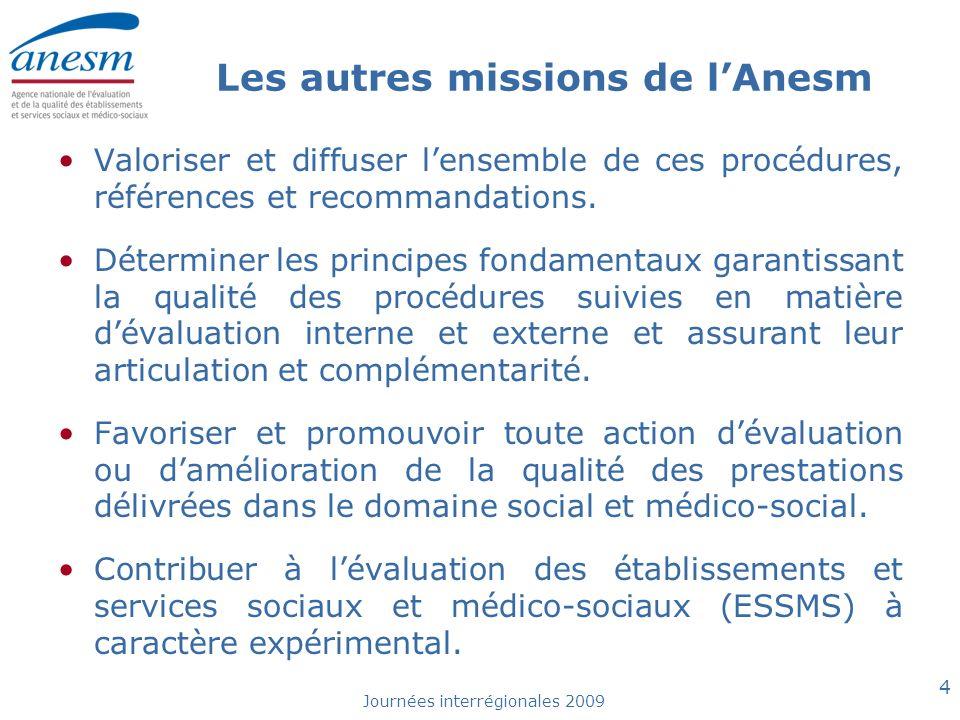Journées interrégionales 2009 5 Les autres missions de lAnesm Réaliser ou faire réaliser toute étude qui lui paraît nécessaire.