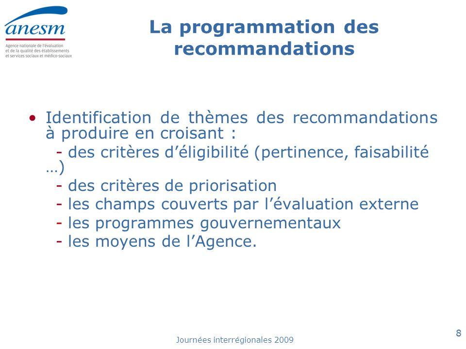 Journées interrégionales 2009 8 La programmation des recommandations Identification de thèmes des recommandations à produire en croisant : - des critè