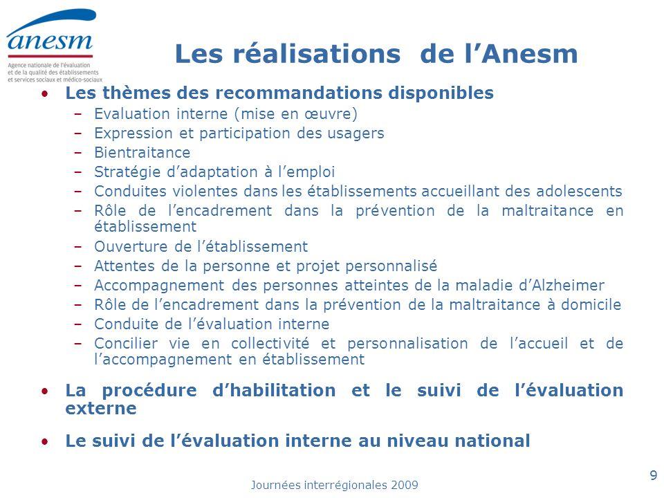 Journées interrégionales 2009 9 Les réalisations de lAnesm Les thèmes des recommandations disponibles –Evaluation interne (mise en œuvre) –Expression