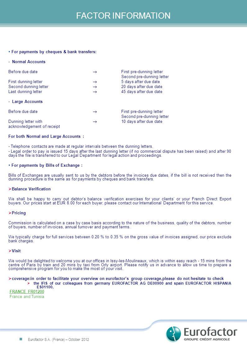CONTACT & FACT SHEET FCI Factor CodeFR01200 NameEurofactor S.A.