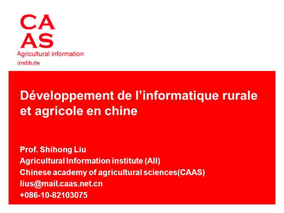 Développement de linformatique rurale et agricole en chine Prof.