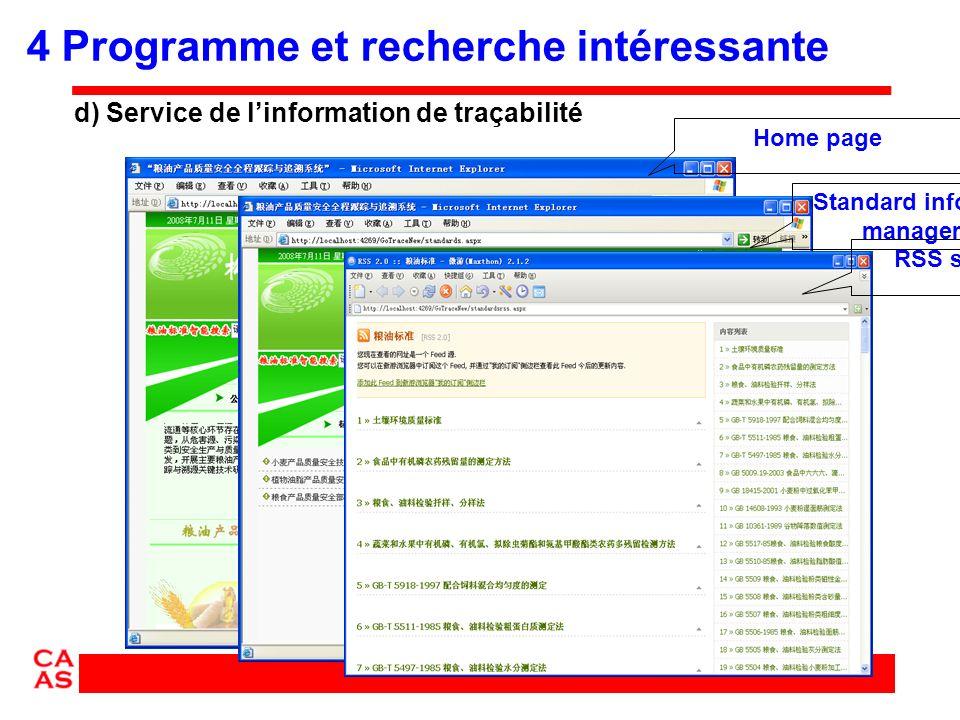 Home pageStandard information management RSS service d) Service de linformation de traçabilité 4 Programme et recherche intéressante
