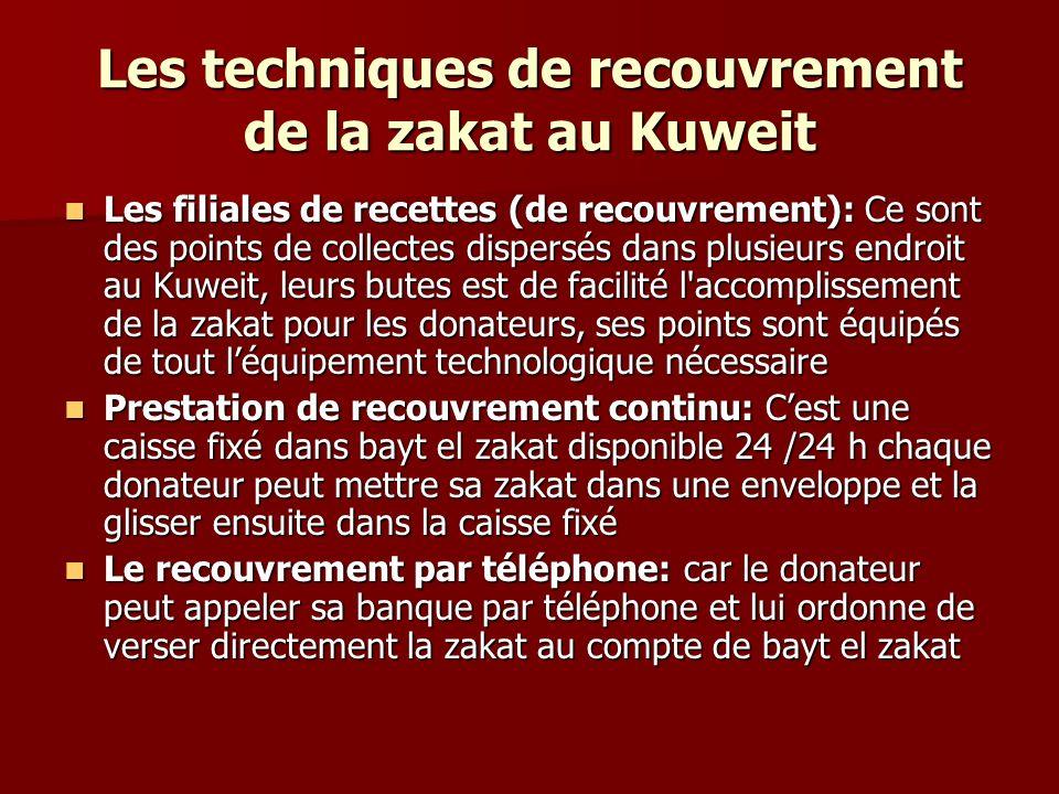 Les techniques de recouvrement de la zakat au Kuweit Les filiales de recettes (de recouvrement): Ce sont des points de collectes dispersés dans plusieurs endroit au Kuweit, leurs butes est de facilité l accomplissement de la zakat pour les donateurs, ses points sont équipés de tout léquipement technologique nécessaire Les filiales de recettes (de recouvrement): Ce sont des points de collectes dispersés dans plusieurs endroit au Kuweit, leurs butes est de facilité l accomplissement de la zakat pour les donateurs, ses points sont équipés de tout léquipement technologique nécessaire Prestation de recouvrement continu: Cest une caisse fixé dans bayt el zakat disponible 24 /24 h chaque donateur peut mettre sa zakat dans une enveloppe et la glisser ensuite dans la caisse fixé Prestation de recouvrement continu: Cest une caisse fixé dans bayt el zakat disponible 24 /24 h chaque donateur peut mettre sa zakat dans une enveloppe et la glisser ensuite dans la caisse fixé Le recouvrement par téléphone: car le donateur peut appeler sa banque par téléphone et lui ordonne de verser directement la zakat au compte de bayt el zakat Le recouvrement par téléphone: car le donateur peut appeler sa banque par téléphone et lui ordonne de verser directement la zakat au compte de bayt el zakat