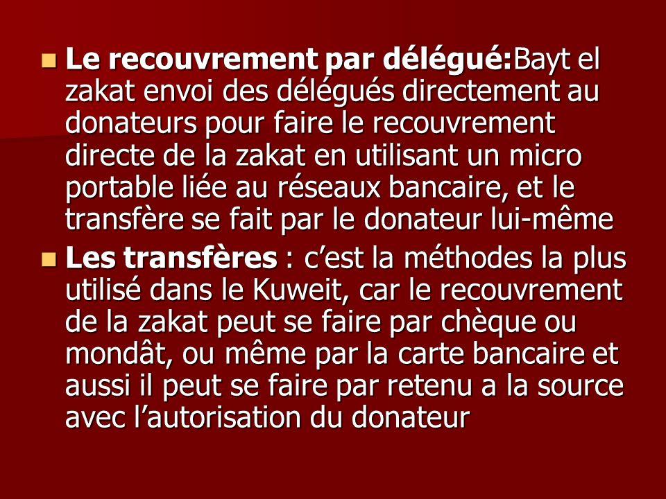 Le recouvrement par délégué:Bayt el zakat envoi des délégués directement au donateurs pour faire le recouvrement directe de la zakat en utilisant un m