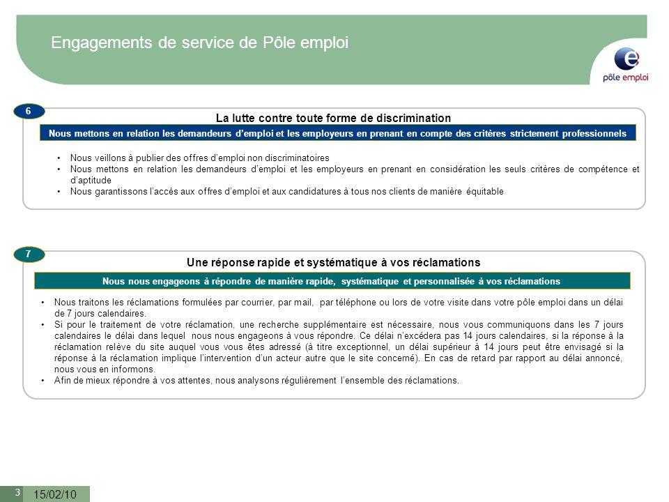 3 15/02/10 Engagements de service de Pôle emploi Nous veillons à publier des offres demploi non discriminatoires Nous mettons en relation les demandeu