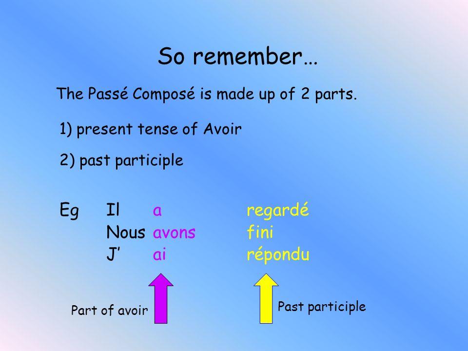 Write the past participle for the following list of verbs: parler chanter finir vendre danser choisir perdre parlé chanté fini vendu dansé choisi perd