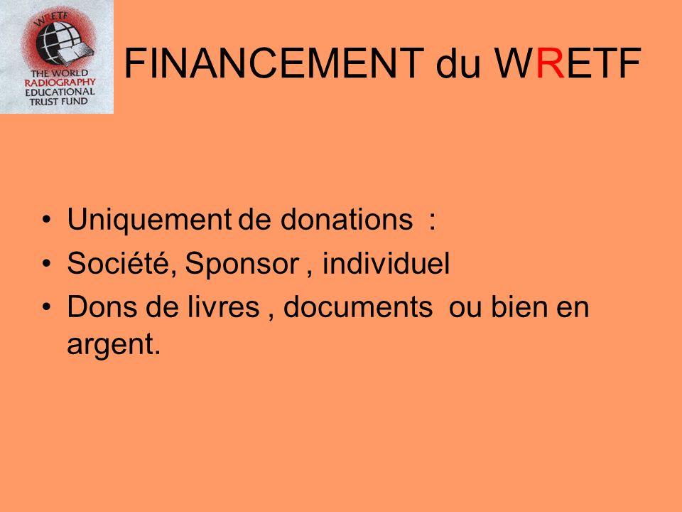 FINANCEMENT du WRETF Uniquement de donations : Société, Sponsor, individuel Dons de livres, documents ou bien en argent.
