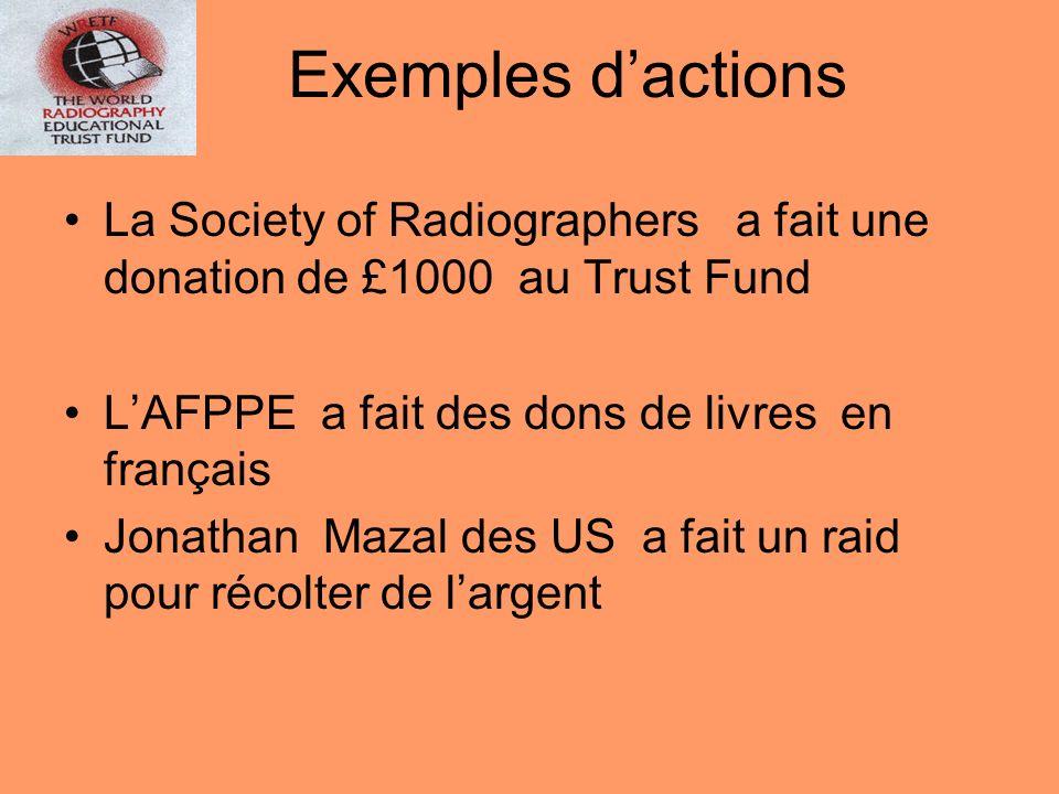 La Society of Radiographers a fait une donation de £1000 au Trust Fund LAFPPE a fait des dons de livres en français Jonathan Mazal des US a fait un ra