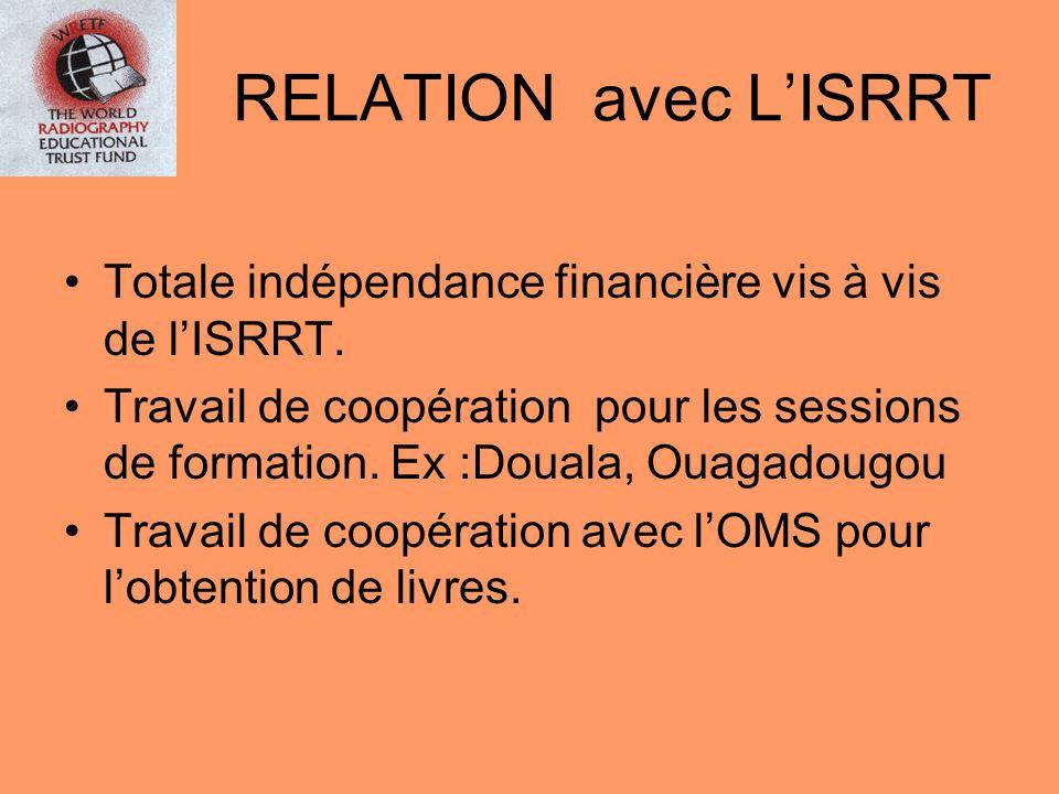 RELATION avec LISRRT Totale indépendance financière vis à vis de lISRRT. Travail de coopération pour les sessions de formation. Ex :Douala, Ouagadougo
