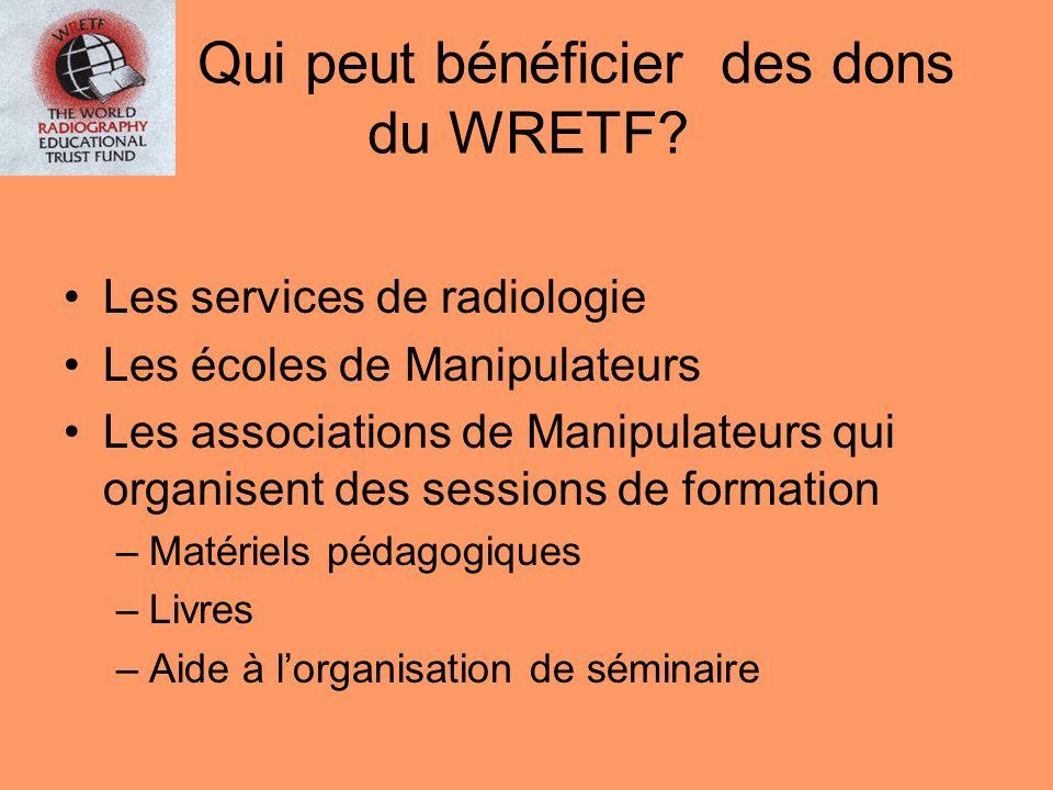 Qui peut bénéficier des dons du WRETF? Les services de radiologie Les écoles de Manipulateurs Les associations de Manipulateurs qui organisent des ses