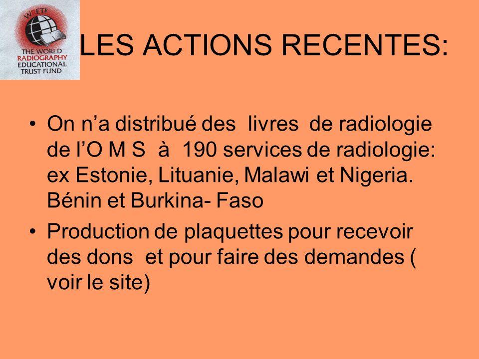 LES ACTIONS RECENTES: On na distribué des livres de radiologie de lO M S à 190 services de radiologie: ex Estonie, Lituanie, Malawi et Nigeria. Bénin
