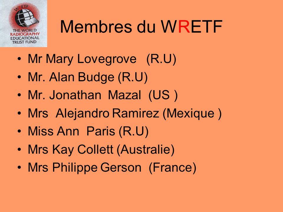 WRETF Des ambassadeurs dont le rôle est de: faire connaitre le WRETF diffuser linformation du WRETF Récolter des dons Cathy Thibaut (France) Dominique Zerroug (France) WRETF