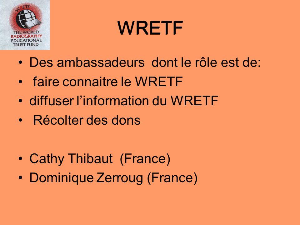 WRETF Des ambassadeurs dont le rôle est de: faire connaitre le WRETF diffuser linformation du WRETF Récolter des dons Cathy Thibaut (France) Dominique