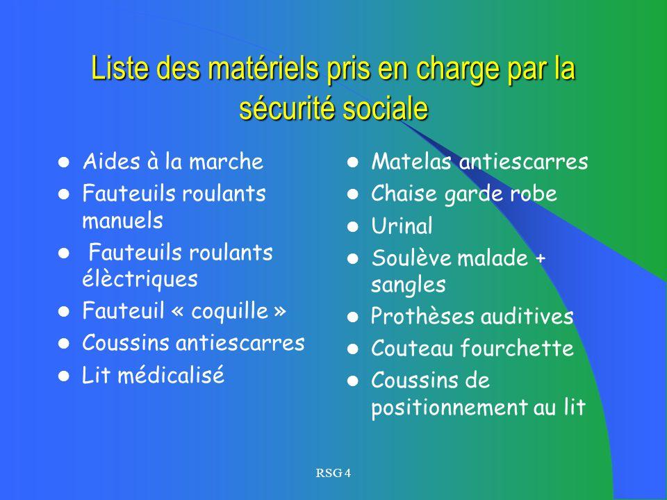 RSG 4 Financement des aides matériels (aides techniques) Matériel non pris en charge par la sécurité sociale: Conditions :les ressources, montage dun