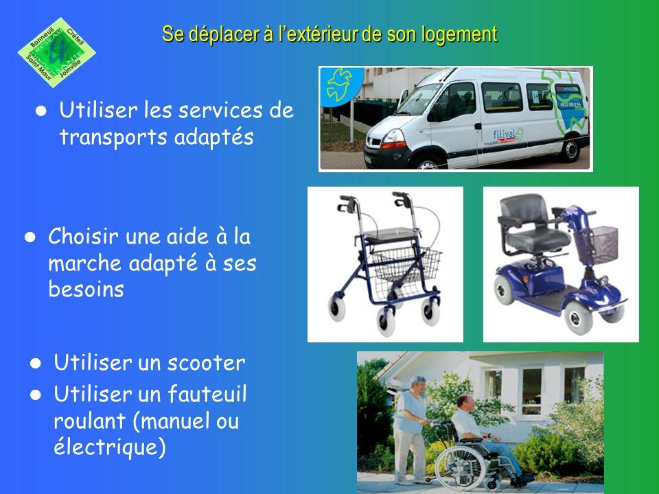 Se déplacer à lextérieur de son logement Utiliser les services de transports adaptés Choisir une aide à la marche adapté à ses besoins Utiliser un scooter Utiliser un fauteuil roulant (manuel ou électrique)