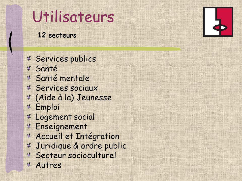 Utilisateurs Services publics Santé Santé mentale Services sociaux (Aide à la) Jeunesse Emploi Logement social Enseignement Accueil et Intégration Jur