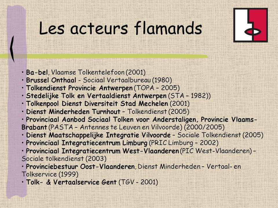 Ba-bel, Vlaamse Tolkentelefoon (2001) Brussel Onthaal - Sociaal Vertaalbureau (1980) Tolkendienst Provincie Antwerpen (TOPA – 2005) Stedelijke Tolk en