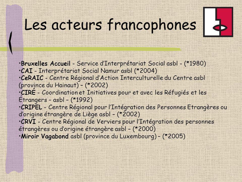 Bruxelles Accueil - Service dInterprétariat Social asbl - (*1980) CAI - Interprétariat Social Namur asbl (*2004) CeRAIC - Centre Régional dAction Inte