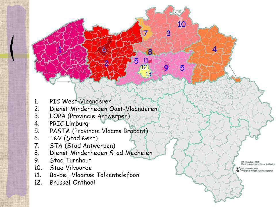 1. PIC West-Vlaanderen 2. Dienst Minderheden Oost-Vlaanderen 3. LOPA (Provincie Antwerpen) 4. PRIC Limburg 5. PASTA (Provincie Vlaams Brabant) 6. TGV