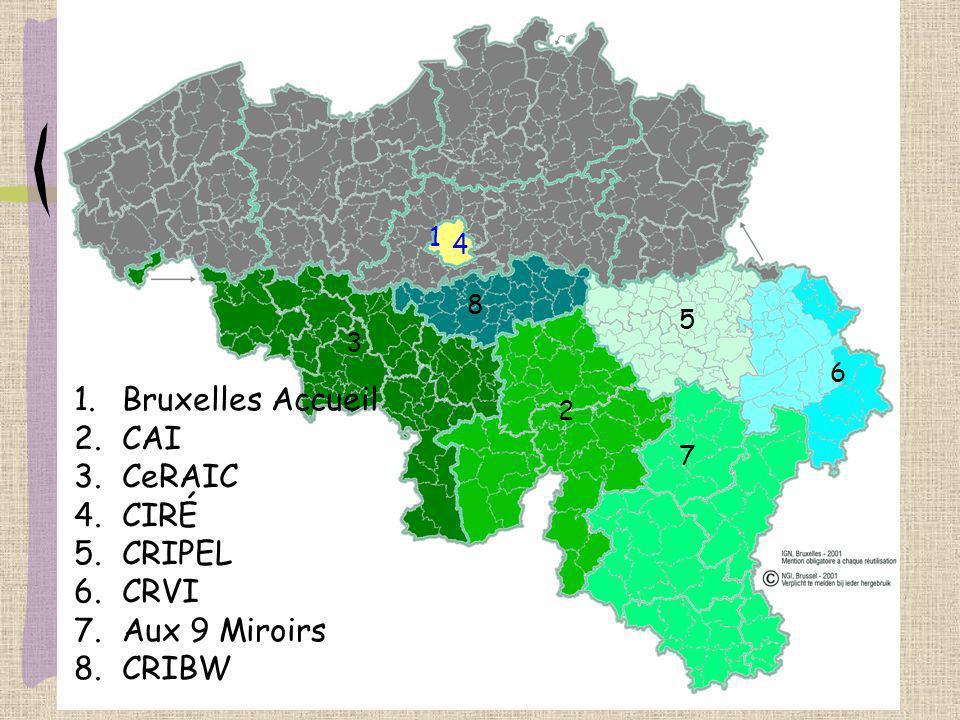 1.Bruxelles Accueil 2.CAI 3.CeRAIC 4.CIRÉ 5.CRIPEL 6.CRVI 7.Aux 9 Miroirs 8.CRIBW 1 4 2 3 5 6 7 8