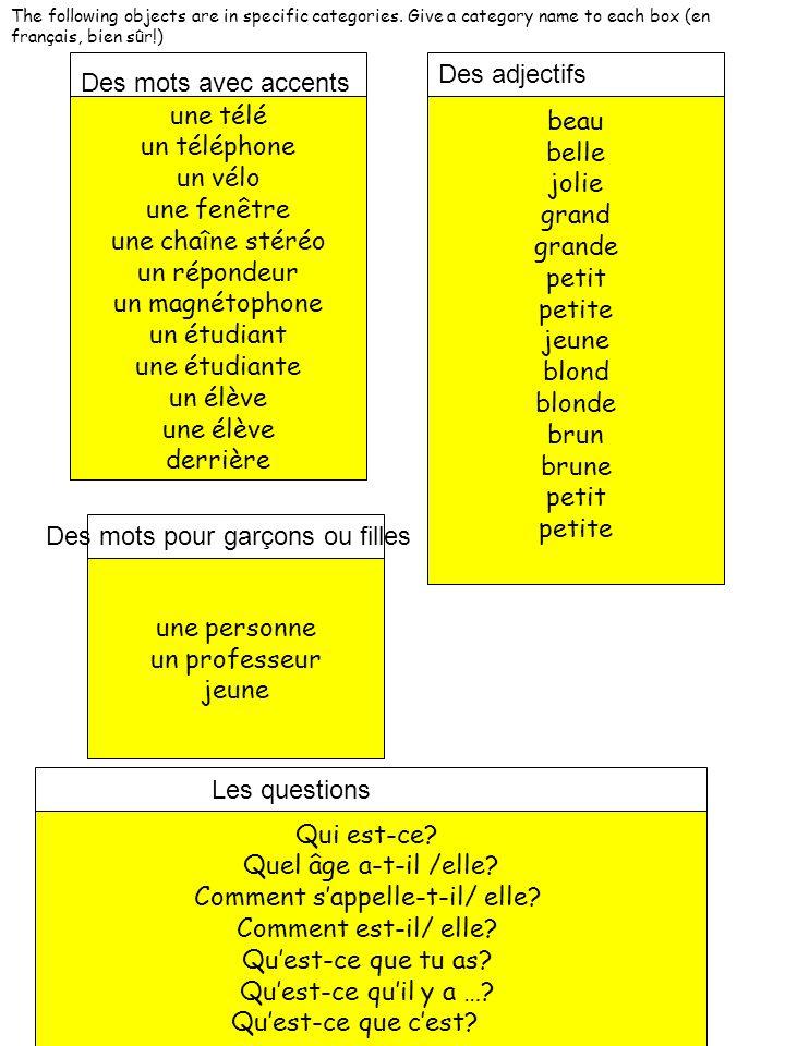 The following objects are in specific categories. Give a category name to each box (en français, bien sûr!) une télé un téléphone un vélo une fenêtre